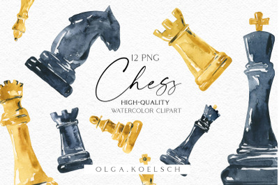 Chess clipart, Watercolor chess pieces clip art, Chess figures png