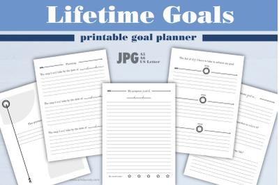 Lifetime goals | printable goal planner.