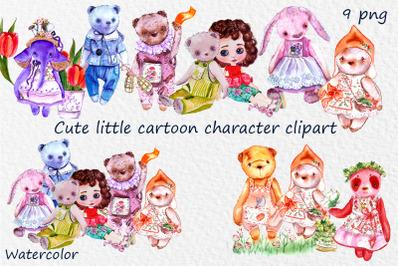 Cute little bear, elephant, doll cartoon character. Baby bear clipart