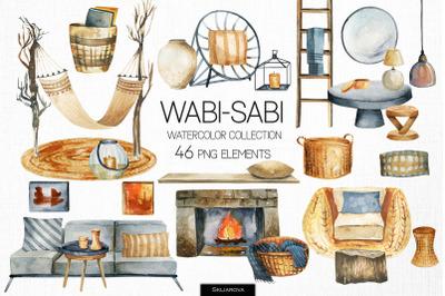Wabi-sabi watercolor clipart