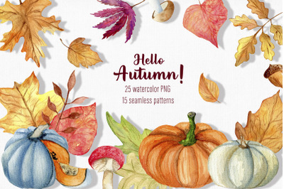 Watercolor autumn clipart / Fall clipart / Pumpkin clipart / Autumn pn