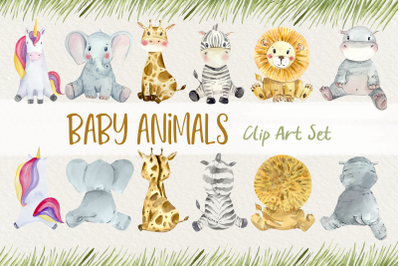 Baby Animals Front and Back Clip Art