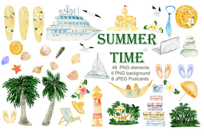 Summer. Watercolor Clipart. Watercolor Holiday rentals set.