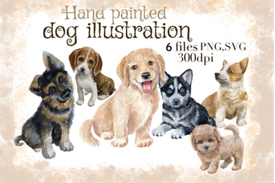 Dog portraits clipart,puppies clipart, Hand drawings dogs.