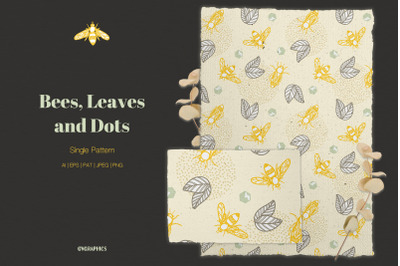 Bees, Leaves and Dots Vector Pattern