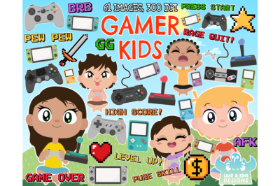 Gamer Kids Clipart - Lime and Kiwi Designs