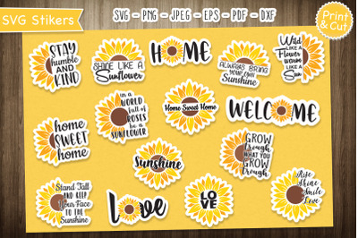 Sunflowers Stickers Bundle, Printable Stickers for Cricut