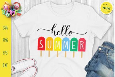 Hello Summer Svg, Colorful Summer Svg, Icecream Svg