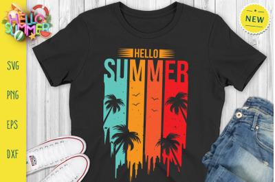 Hello Summer Vintage Svg, Vintage Summer Svg