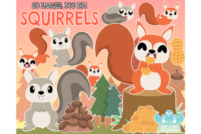 Squirrels Clipart - Lime and Kiwi Designs