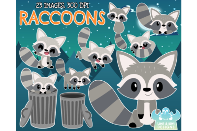 Raccoons Clipart - Lime and Kiwi Designs