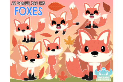Foxes Clipart - Lime and Kiwi Designs