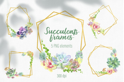 Watercolor floral frame / Succulent wreath png / Gold frame png