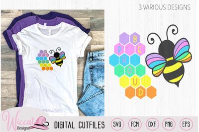 Proud rainbow Bumblebee svg, bee pride svg,