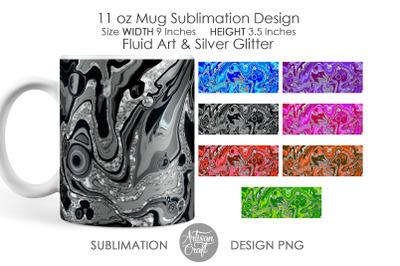 Sublimation designs for mugs, 11 oz mug, Fluid art, silver glitter