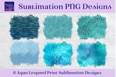 Sublimation PNG Designs - Aqua Leopard Print Images