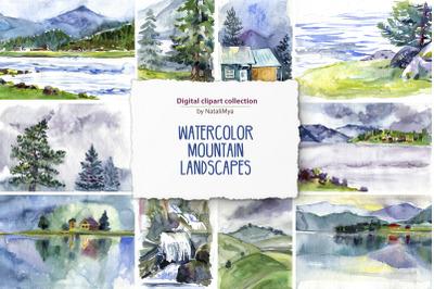 15 watercolor mountain landscapes
