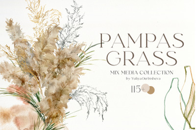 Pampas grass watercolor abstract clipart