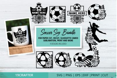 Soccer SVG file bundle for paper cut and sublimation