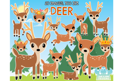 Deer Clipart - Lime and Kiwi Designs
