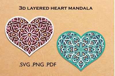 3d layered heart mandala - 3d SVG cut file