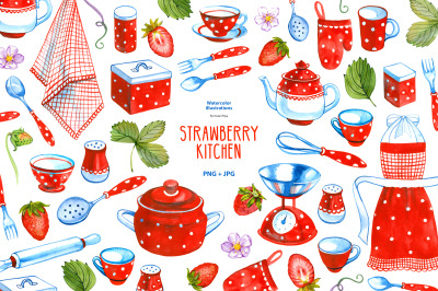 Watercolor strawberry kitchen