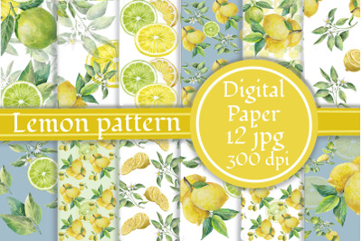 Lemons and limes Digital Paper Pack, Summer Printable Paper, Citrus pa