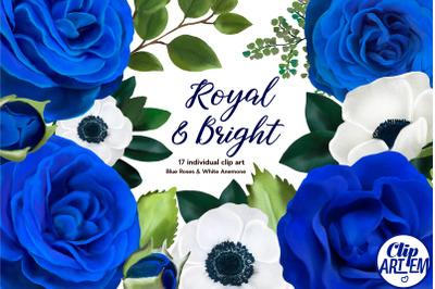Royal Blue Roses White Anemones, Watercolor 17 PNG floral clip art set