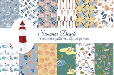 Beach digital paper kit, summer seamless patterns, nautical scrapbook