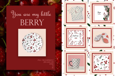"""""""You are my little berry"""" Patterns, card templates, elements and seaml"""