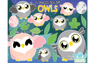 Owls Clipart - Lime and Kiwi Designs