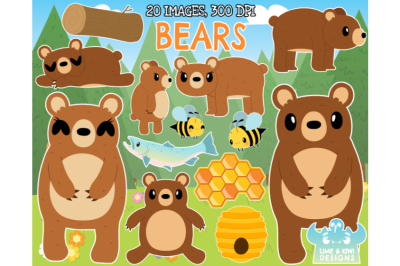 Bears Clipart - Lime and Kiwi Designs