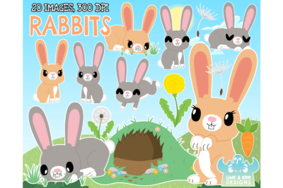 Rabbits Clipart - Lime and Kiwi Designs