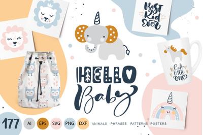 Hello Baby animals & calligraphy