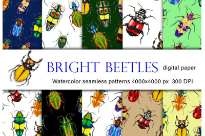 Watercolor Beetles Digital Paper, Bug Pattern, Insects, Bug Catching