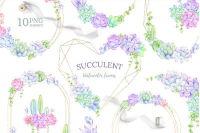 Watercolor Succulent Wreath, cactus clipart, geometric frames