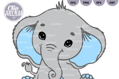Boy Elephant SVG cutting file Blue Gray clip art, image png