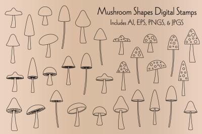 Black Outline Mushroom Shapes