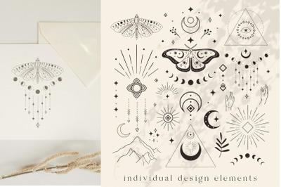 Divine Logo Elements. Esoteric mystic symbols. Eyes, stars, moon, arms
