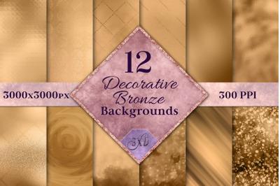 Decorative Bronze Backgrounds - 12 Image Textures Set
