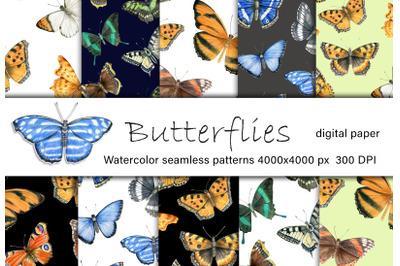 Watercolor Butterflies Digital Paper, Butterfly Pattern