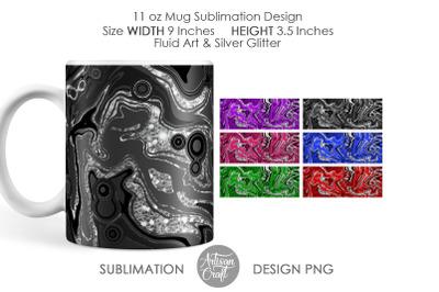 11 oz Mug sublimation design, fluid painting