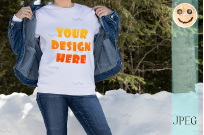 White sweatshirt mockup of a girl in denim, model mockup