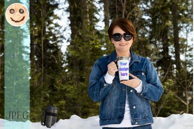 Travel mug mockup of a woman in sunglasses, model mockup.