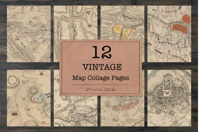 Vintage map book pages