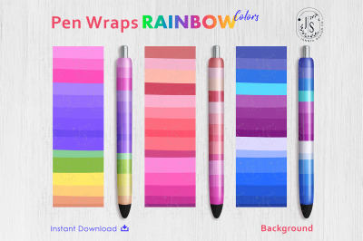 Rainbow Color Pen Wraps PNG File Set