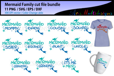 mermaid svg family cut file bundle