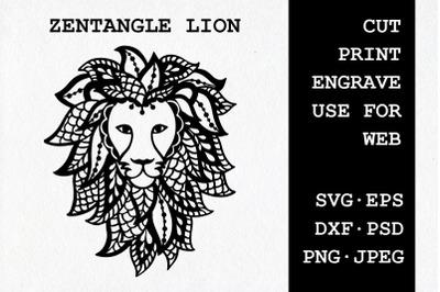 Zentangle Lion | SVG DXF EPS PSD PNG JPEG