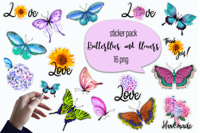 Butterflies and flowers watercolor - sticker pack