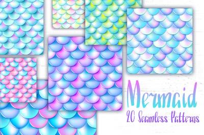 Mermaid Fish Skin Summer Seamless Patterns
